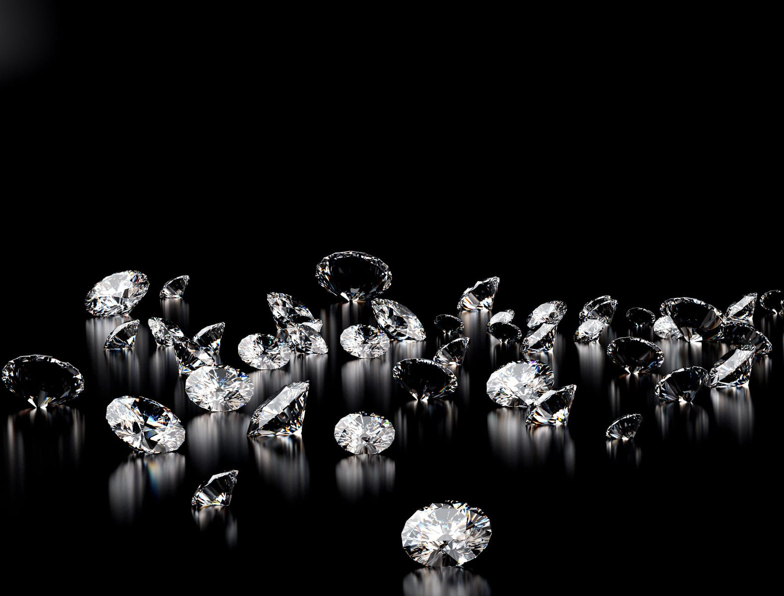 diamonds on black background  with space for text