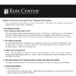 Kois Center information on caring for temporary dental restorations