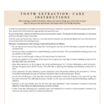 Tooth extraction care instructions