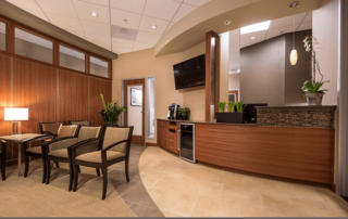 Interior entry way & waiting room in the Irvine Cosmetic dental office of Dr. Rice