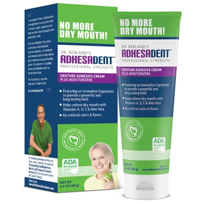 Adhesadent product recommended by Dr. Rice