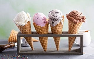 a selection of tasty ice cream cones