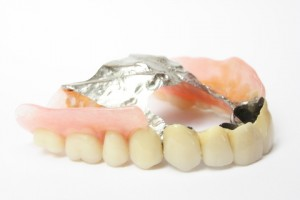 A close up of cheap dentures